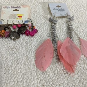 Dangly earrings and hair clips